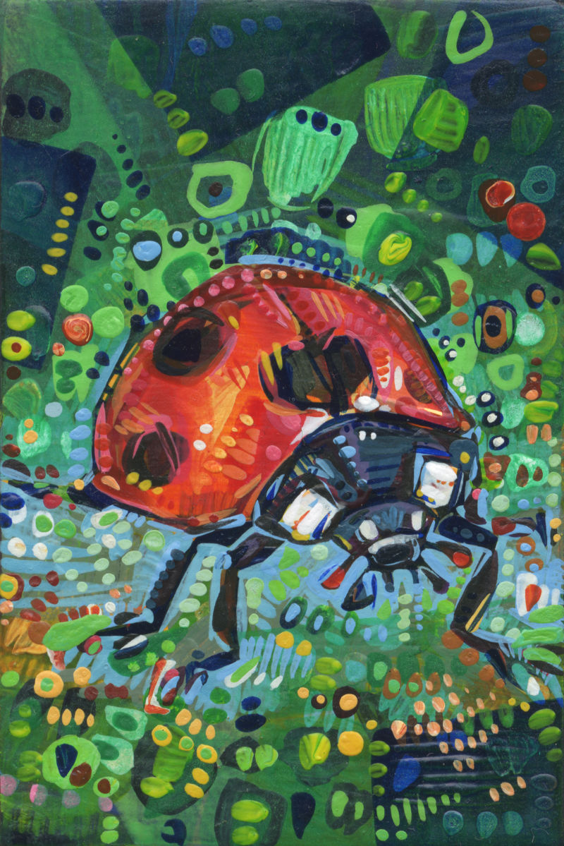 insect art, close up painting of a ladybug seen from the front