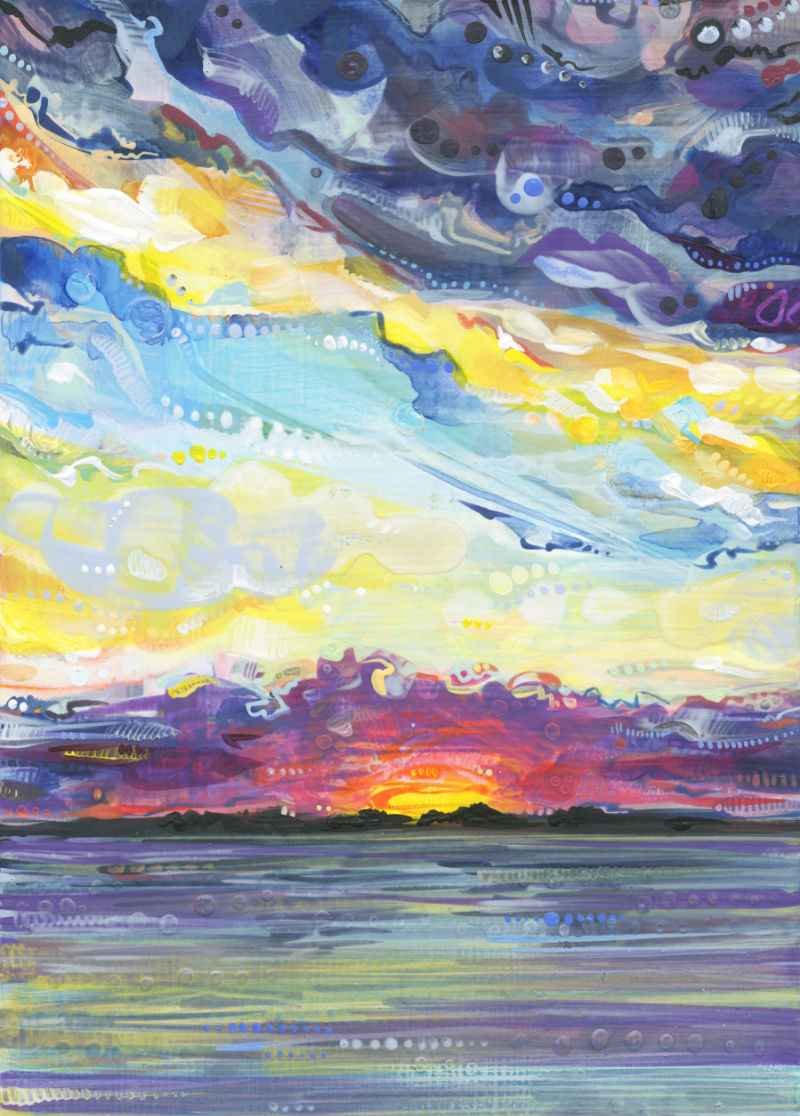 a colorful crosshatched painting of a sunset over water