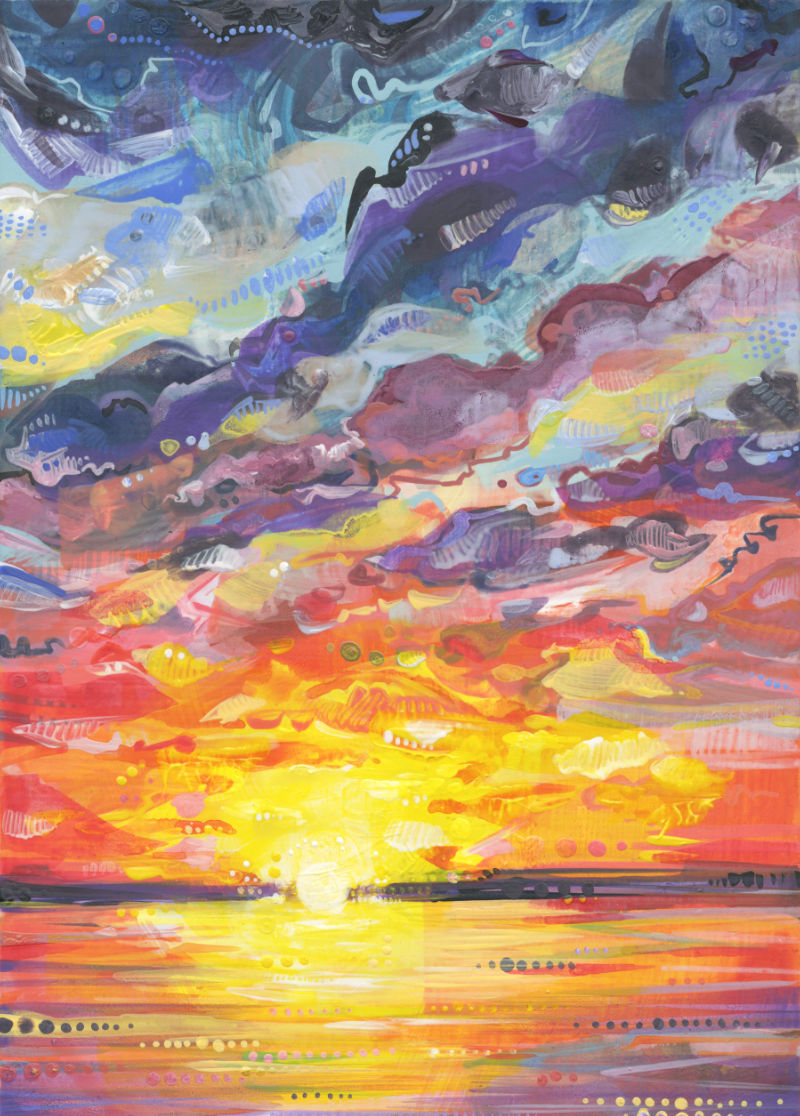 sunset landscape painting in bright colors