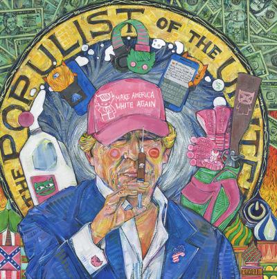 political art that was featured in Newsweek, portrait of 45 and all his crimes, art for sale