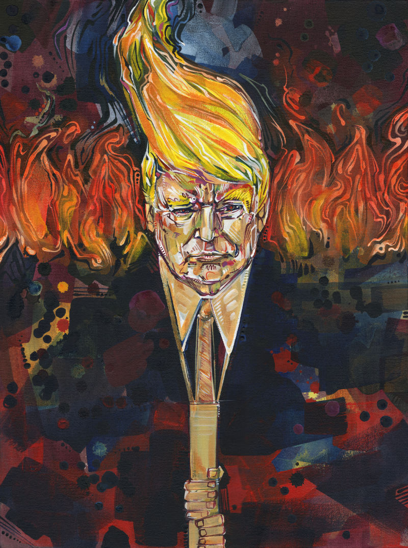 Trump as a Tiki torch, a reference to his support of the white supremacists in Charlottesville, Virginia in 2017
