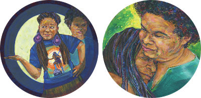 black lesbian couple painted in acrylics