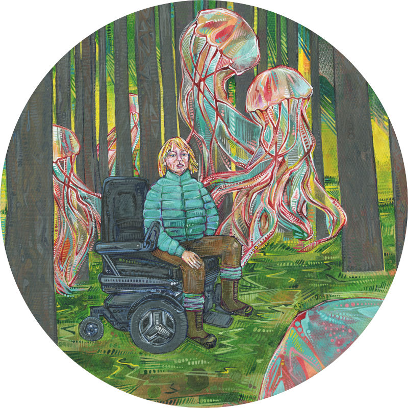 woman in a wheelchair in the woods, surrounded by jellyfish