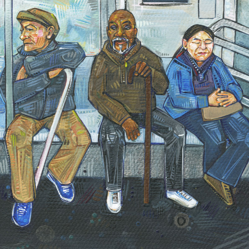 painting of people in a New York subway car