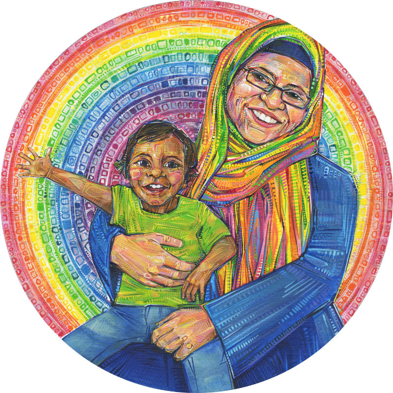 woman in a headscarf with her child art