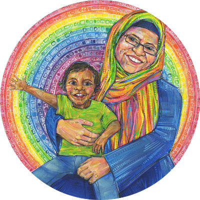 a child with his mother, who is wearing a rainbow hijab
