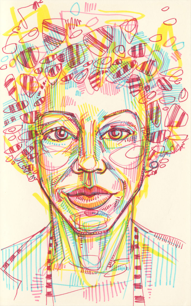 colorful portrait drawing of the artist Amy Sherald