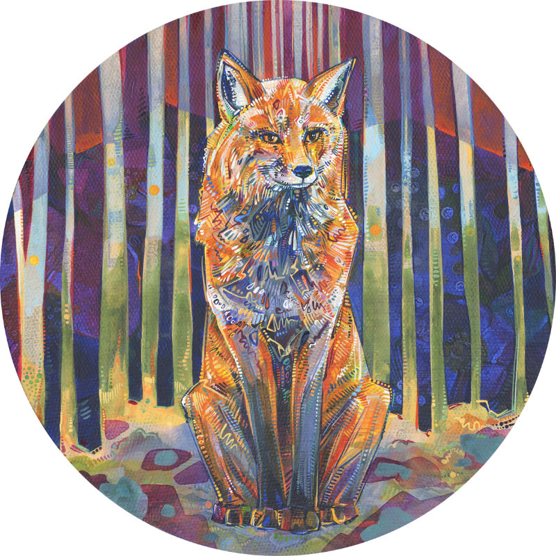 a fox surrounded by trees, painted in bright colors and bold strokes