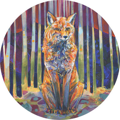 red fox seated, staring at you, painted in a circular composition
