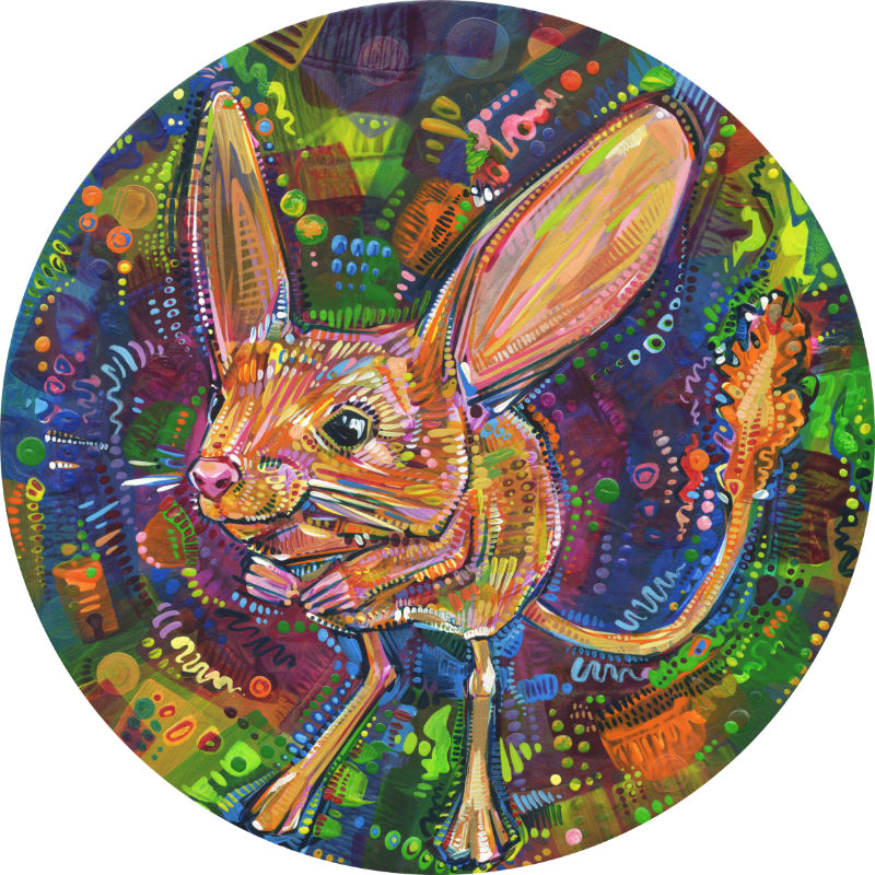 a jerboa surrounded by a rainbow of energetic brush strokes