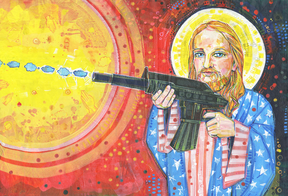 a blond representation of Jesus wearing robes made of the American flag and shooting thoughts and prayers out of an AR-15 gun