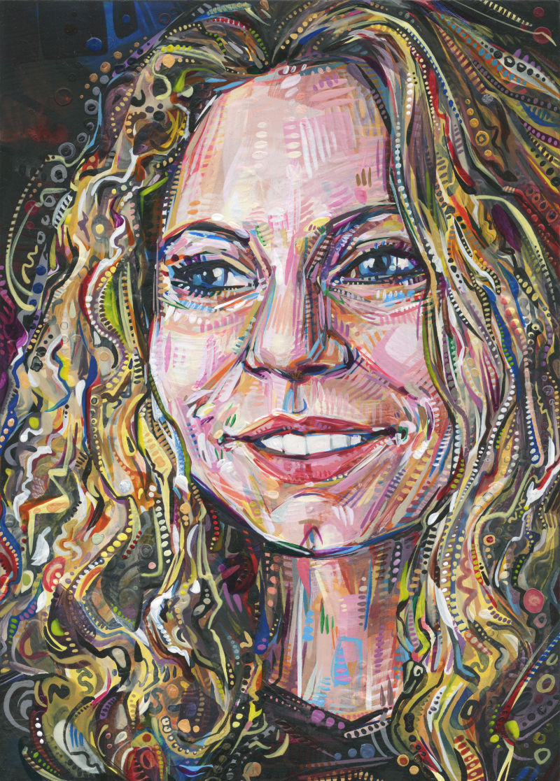 a young white woman with curly hair, painted in bright colors and bold strokes
