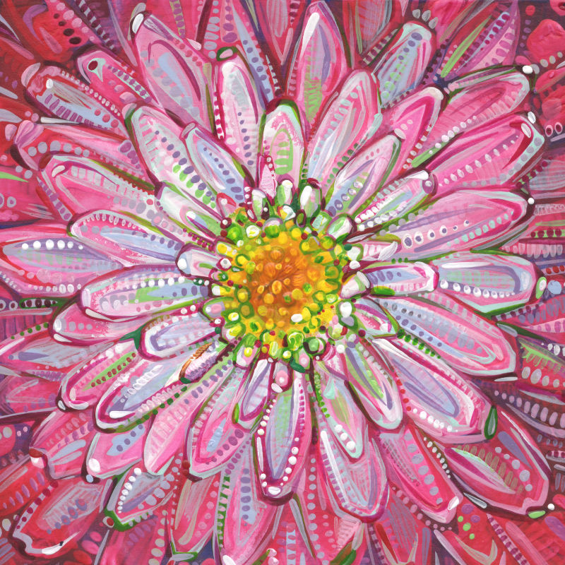 mum flower, tiny painting by Gwenn Seemel