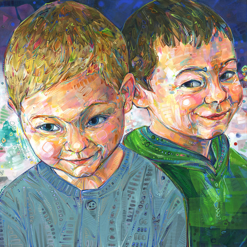 a colorful crosshatched painting of two little boys