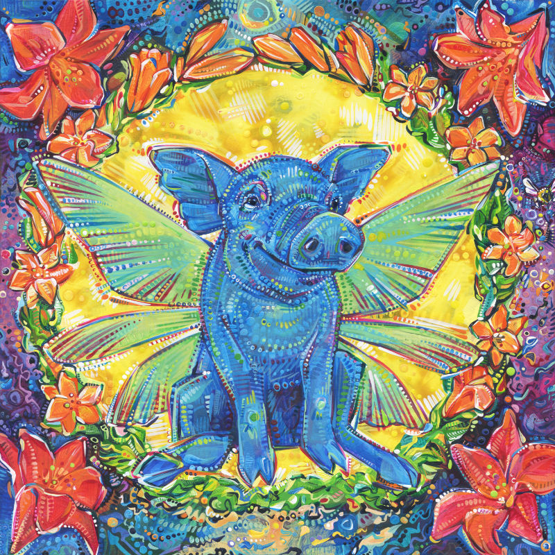 a colorful crosshatched painting of a fairy pig surrounded by lilies