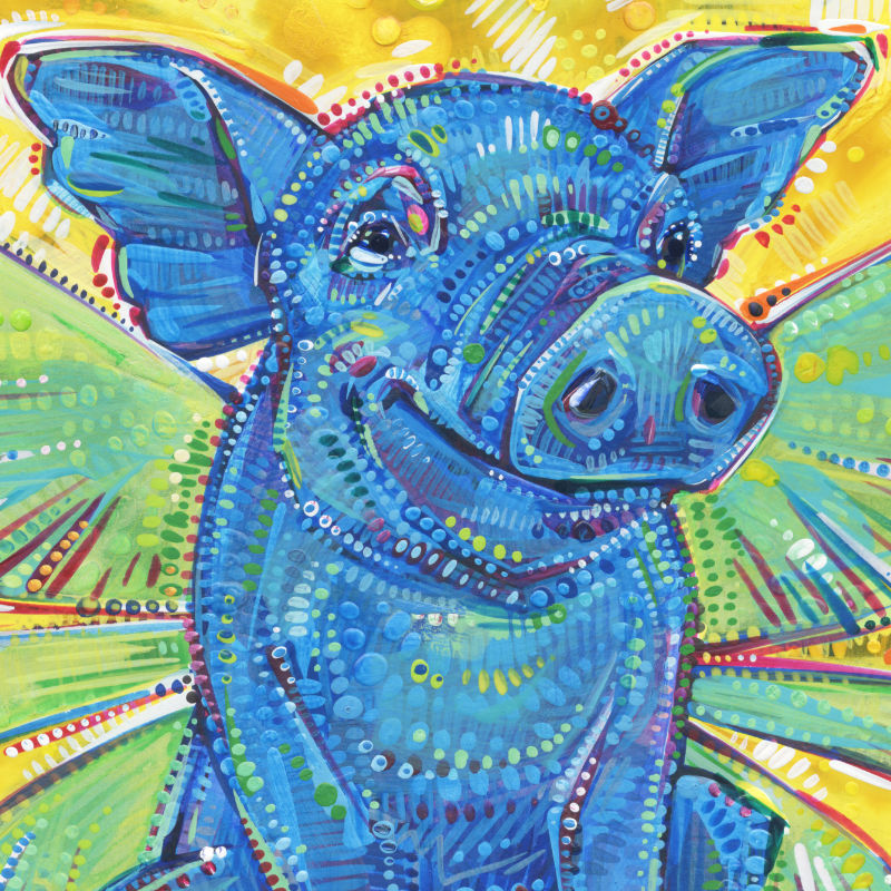 a colorful crosshatched painting of a blue fairy pig
