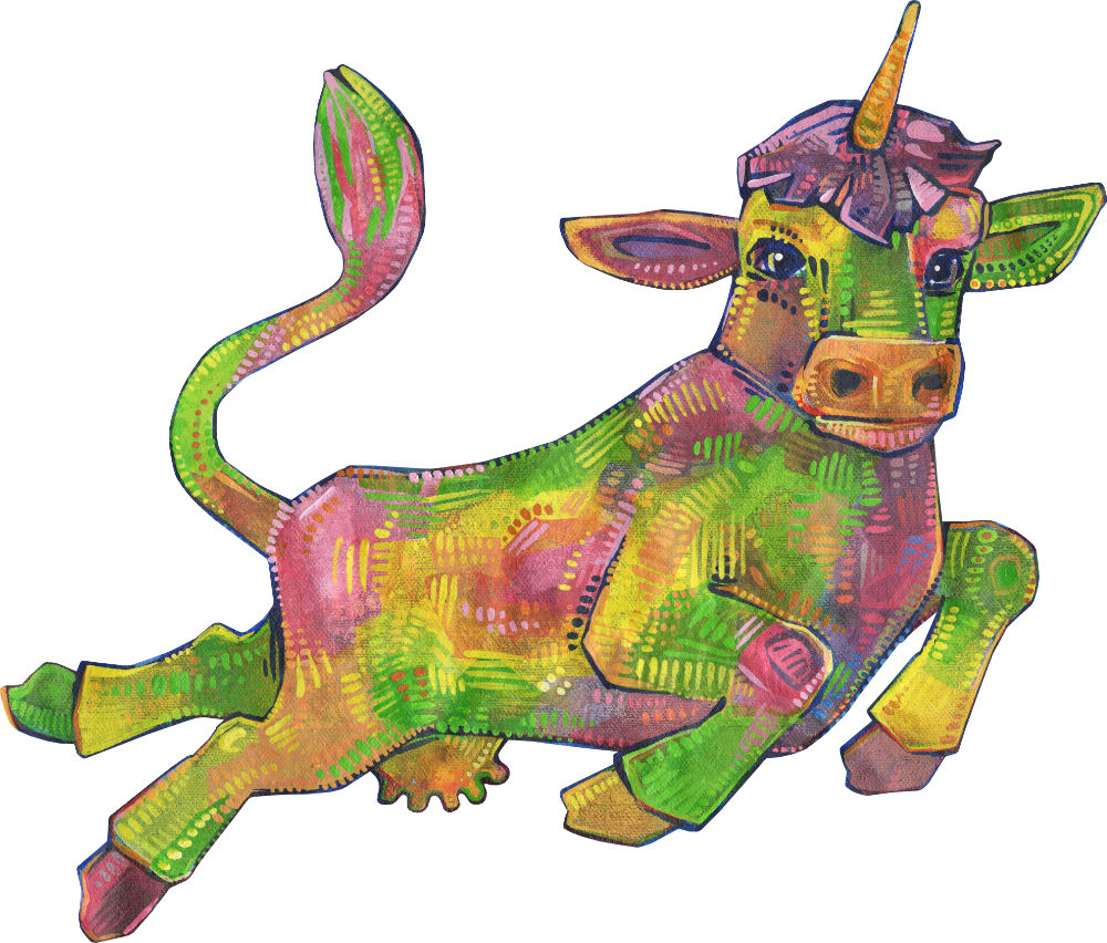 rainbow cow unicorn illustration