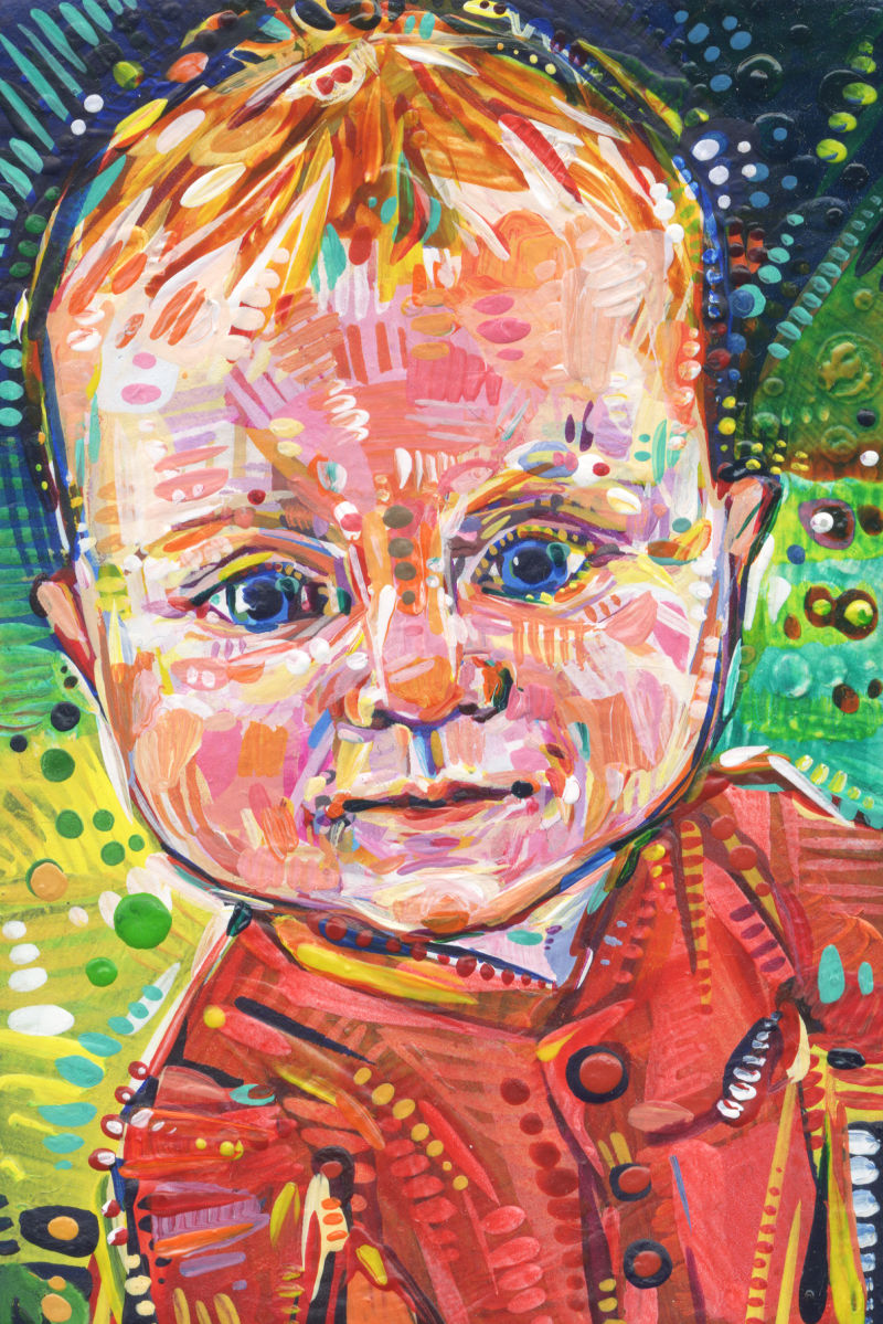 a tiny colorful portrait of a 5 month old white baby with red hair