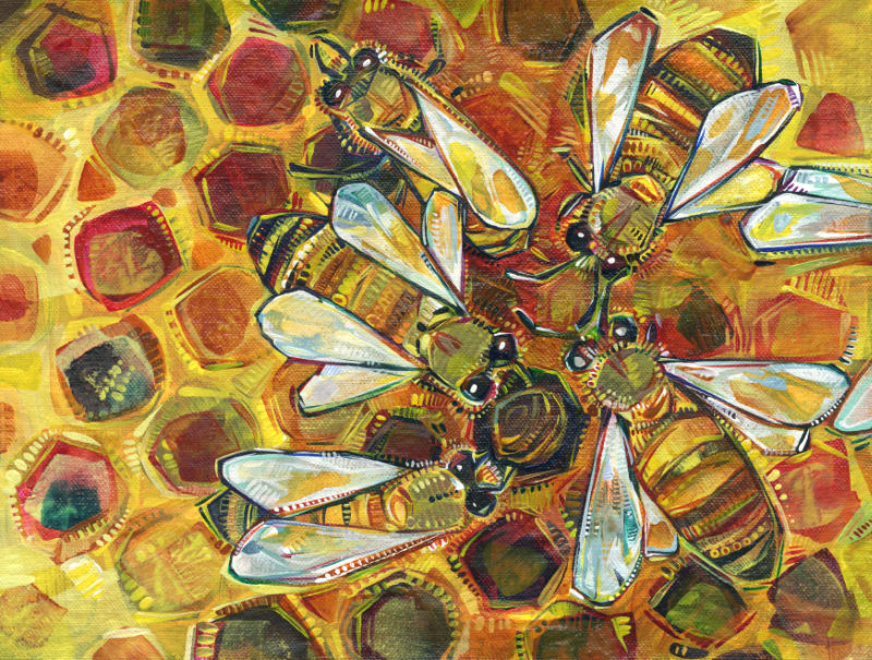 bee artwork, acrylic on canvas