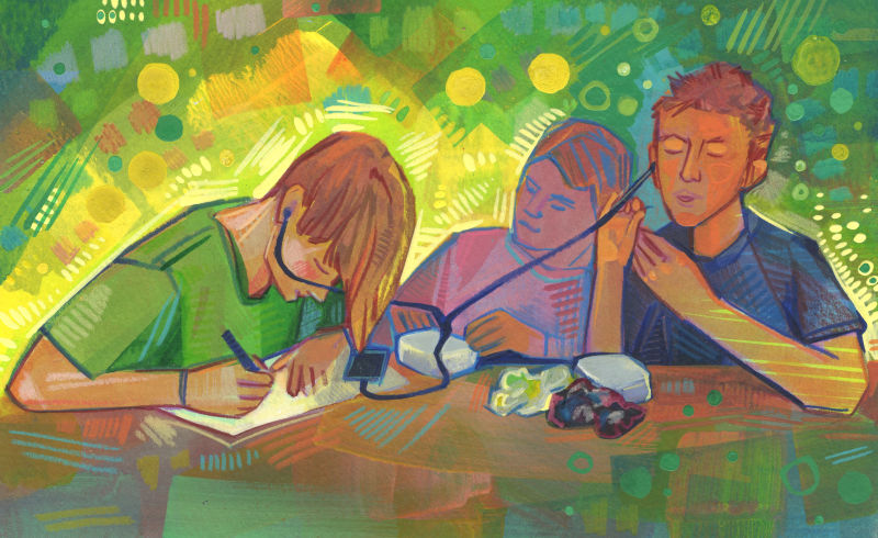 three kids drawing, felting, and listening to music, in mixed media on paper