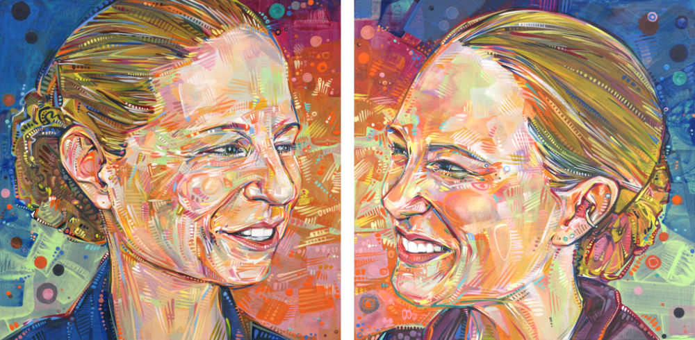 happy couple, two portraits painted by woman artist Gwenn Seemel