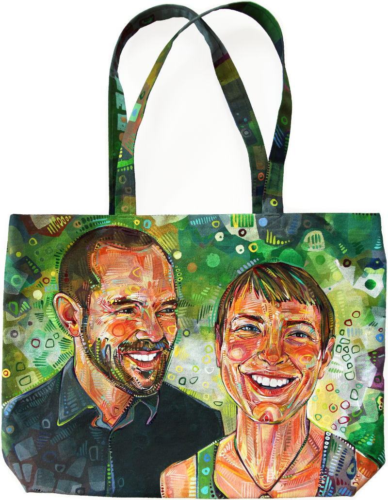 happy couple, double portrait painted on a canvas tote