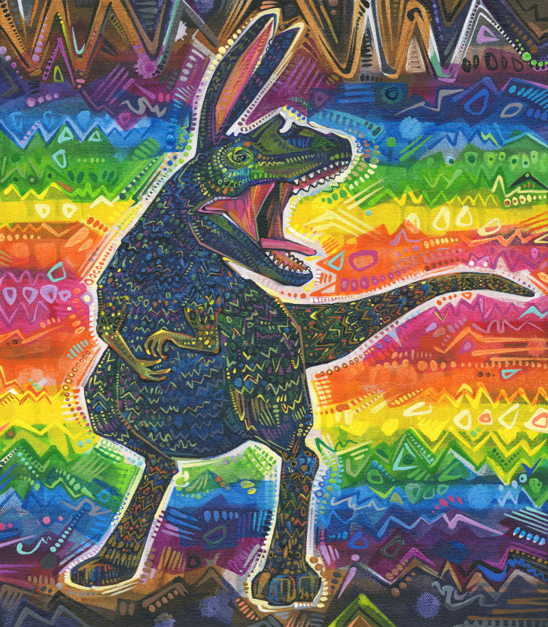 rabbit-dinosaur mash-up creature with a rainbow background