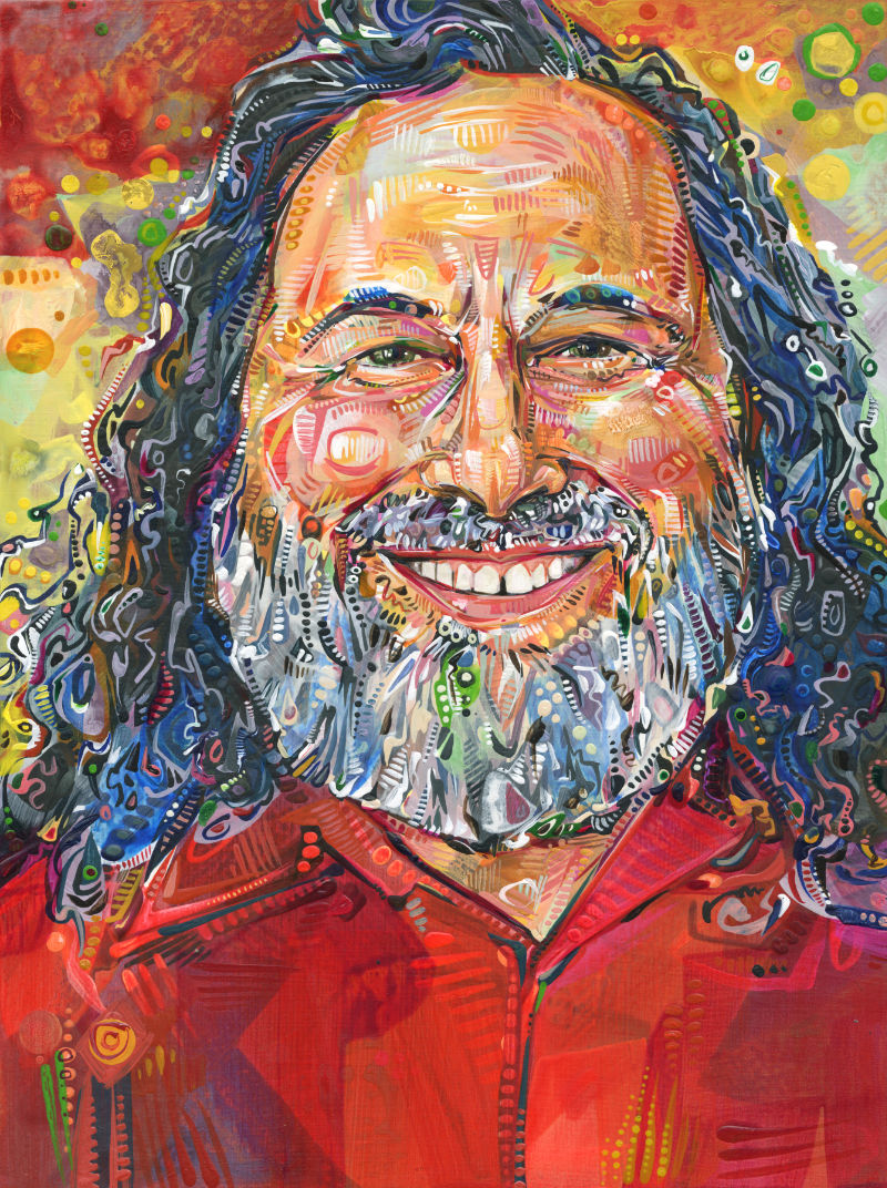 a colorful crosshatched painting of a Richard Stallman of the Free Software Foundation
