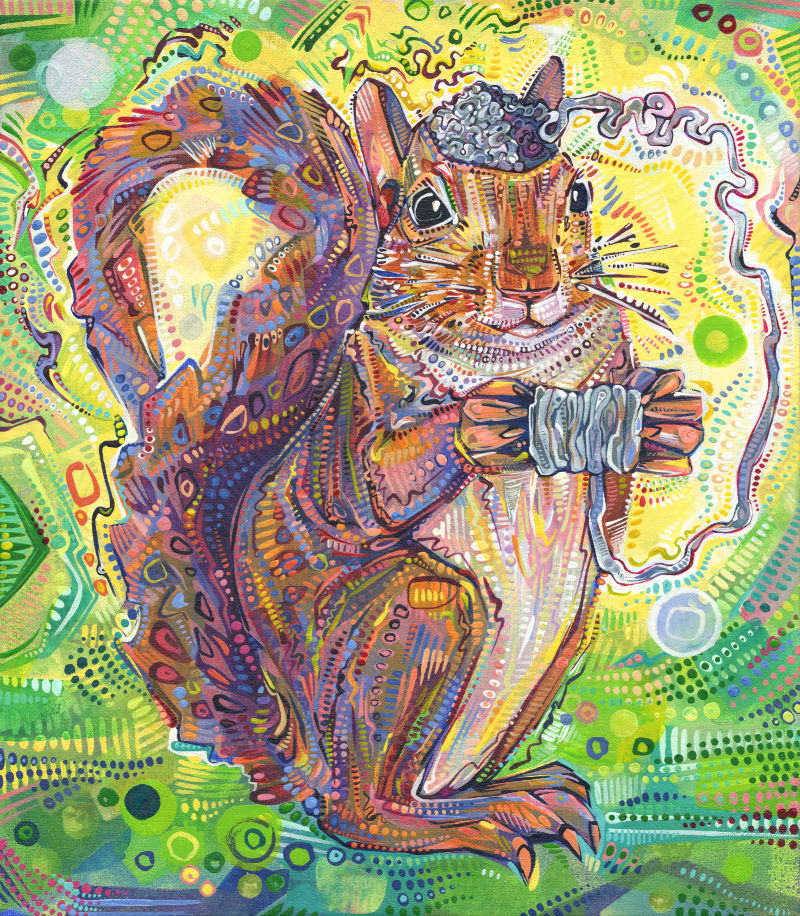 a colorful crosshatched painting of a squirrel unraveling her brain