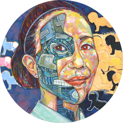 portrait of an Asian woman who is also a robot