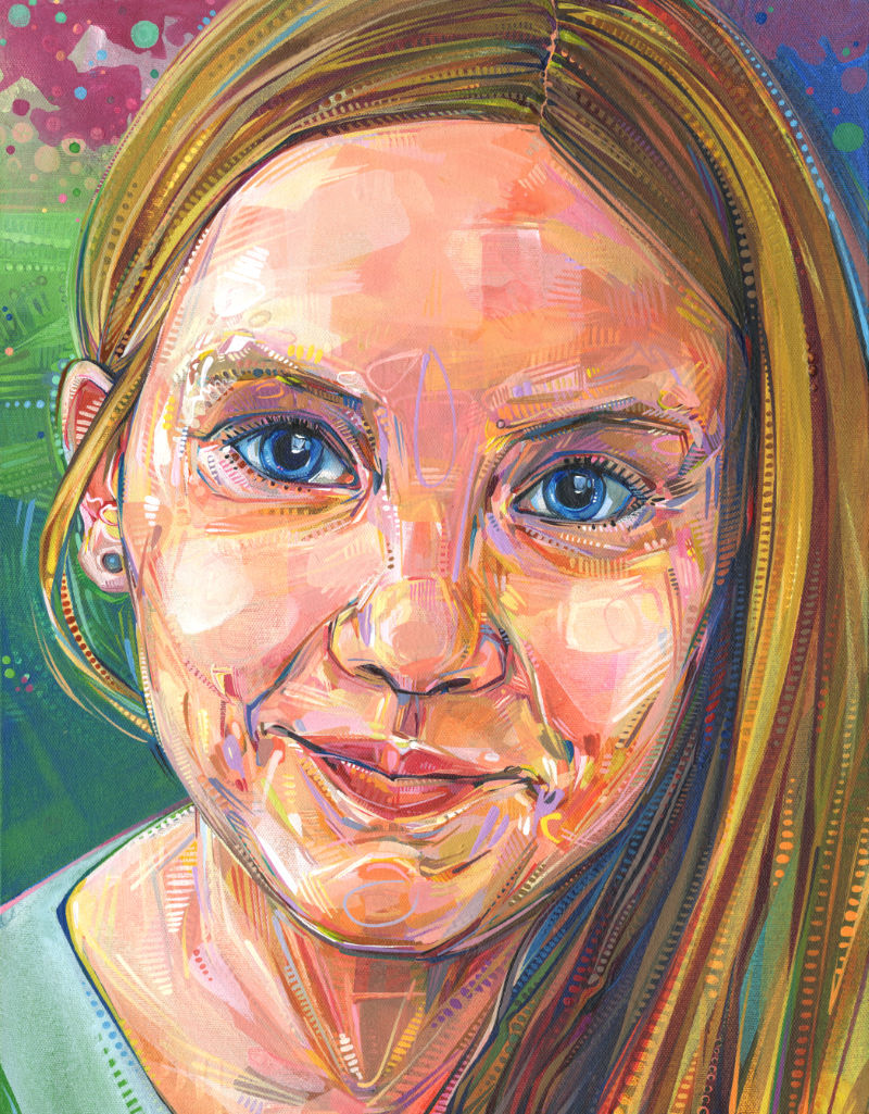 painted portrait of a little girl
