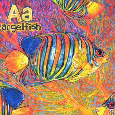 angelfish and neon coral painted by Gwenn Seemel, alphabet book illustration