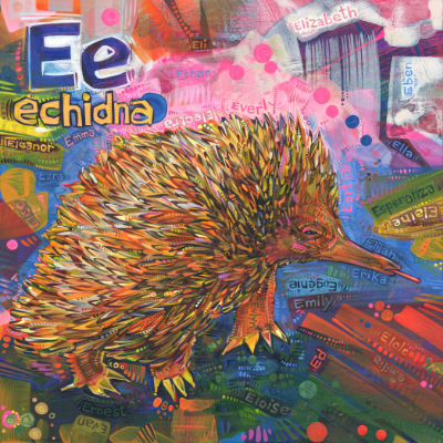 echidna with her tongue sticking out, painted colorfully, buy art by independant artist Gwenn Seemel