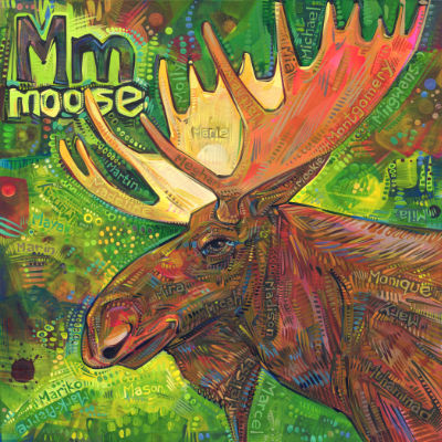 M is for moose, alphabet book painting by American artist Gwenn Seemel