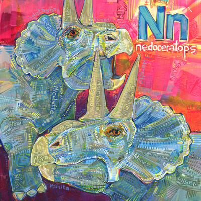 N is for nedoceratops, alphabet book illustration art by Gwenn Seemel