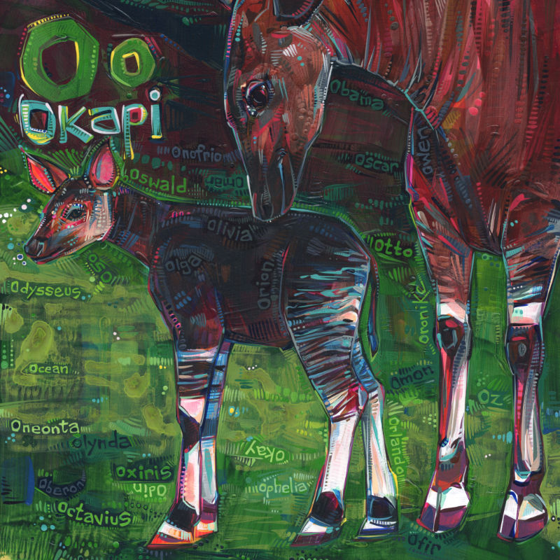 okapi mother and baby painting, wildlife art
