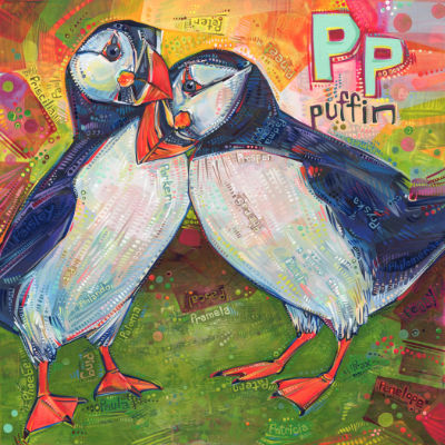 P is for puffin, alphabet book painting by American artist Gwenn Seemel