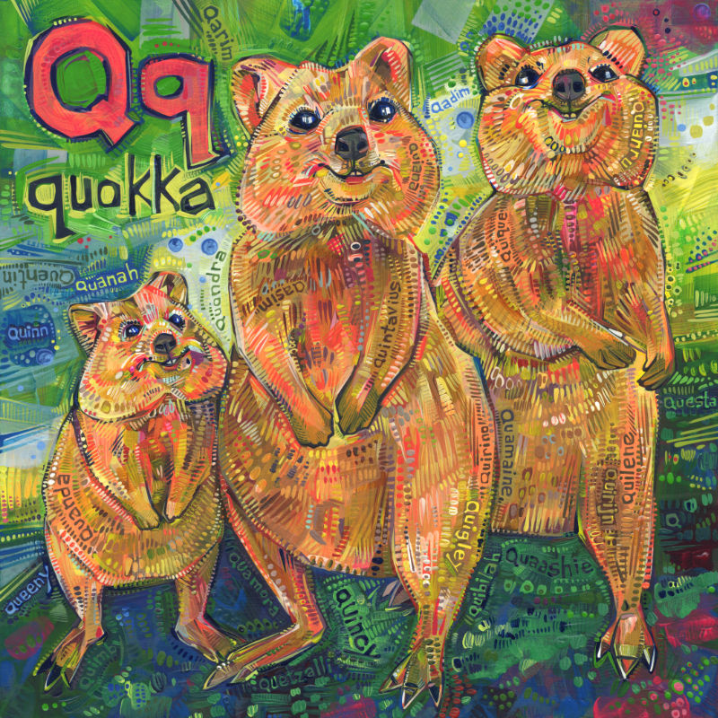 quokka, a little marsupial, wildlife art