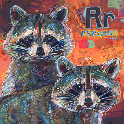 R is for raccoon, alphabet book image by wildlife painter Gwenn Seemel
