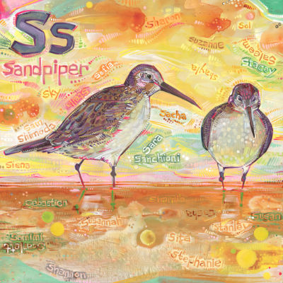 S is for sandpiper, alphabet book painting by American artist Gwenn Seemel