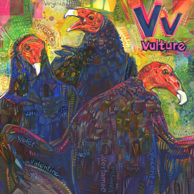 V is for vulture, alphabet book painting by wildlife artist Gwenn Seemel