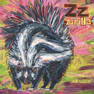 Z is for zorilla, alphabet book painting by American artist Gwenn Seemel