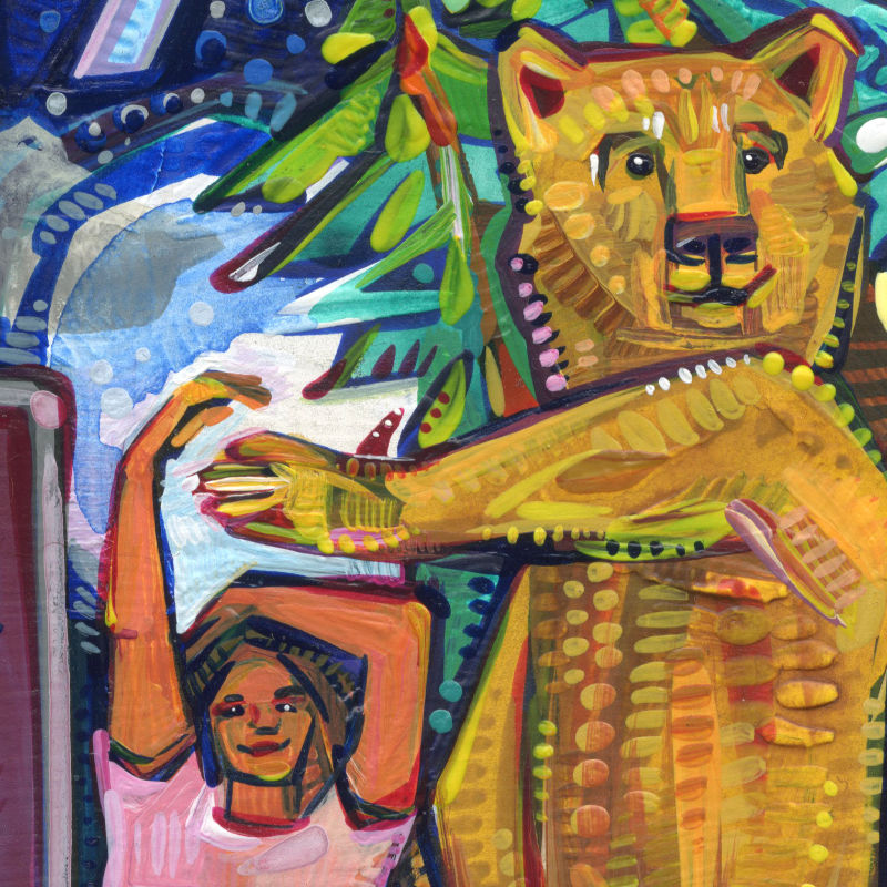 painting of a woman and a bear dancing