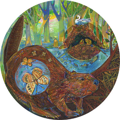 beaver with the ecosystem she built, artwork for sale