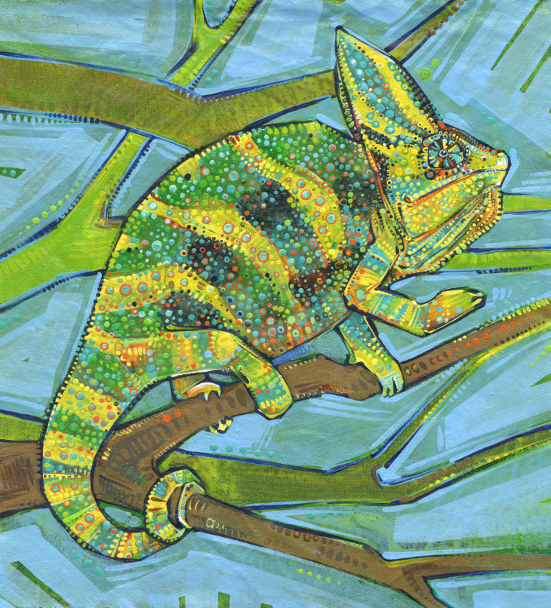 male veiled chameleon painted by French-American artist Gwenn Seemel