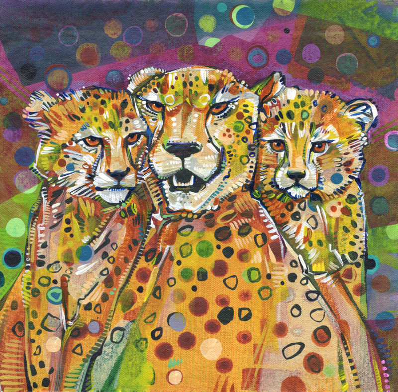 cheetah mom and kittens painting by Jersey artist Gwenn Seemel