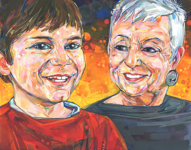 painting of Long Beach Island's Cricket Luker and her grandson