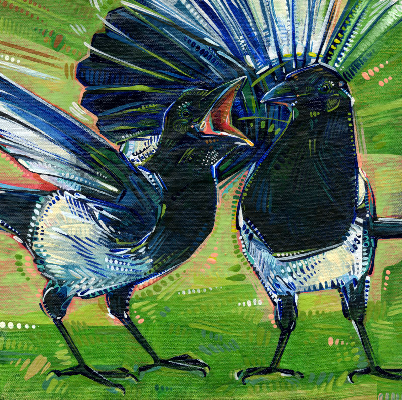 two black-billed magpies arguing painting by Jersey artist Gwenn Seemel
