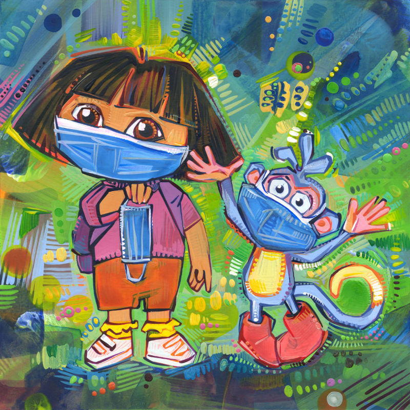 mixed media Dora the Explorer fan art of Dora and Boots wearing face coverings because of the pandemic