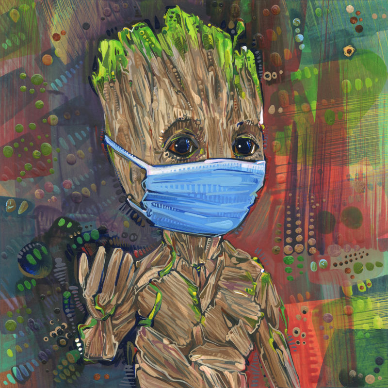mixed media Guardians of the Galaxy fan art of baby Groot wearing a face covering because of the pandemic